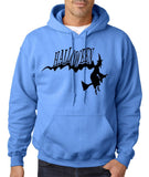 "Flying Halloween Mens Hoodies-Hoodies-Gildan-carolina blue-S To Fit Chest 36-38"" (91-96cm)-Daataadirect"