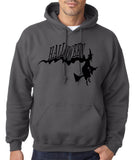 "Flying Halloween Mens Hoodies-Hoodies-Gildan-charcoal-S To Fit Chest 36-38"" (91-96cm)-Daataadirect"
