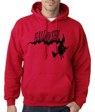 "Flying Halloween Mens Hoodies-Hoodies-Gildan-Cherry Red-S To Fit Chest 36-38"" (91-96cm)-Daataadirect"