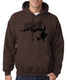 "Flying Halloween Mens Hoodies-Hoodies-Gildan-dark chocolate-S To Fit Chest 36-38"" (91-96cm)-Daataadirect"