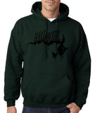 "Flying Halloween Mens Hoodies-Hoodies-Gildan-forest green-S To Fit Chest 36-38"" (91-96cm)-Daataadirect"