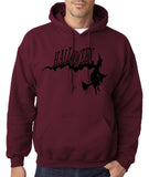 "Flying Halloween Mens Hoodies-Hoodies-Gildan-Garnet-S To Fit Chest 36-38"" (91-96cm)-Daataadirect"