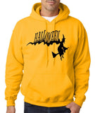 "Flying Halloween Mens Hoodies-Hoodies-Gildan-Gold-S To Fit Chest 36-38"" (91-96cm)-Daataadirect"