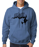 "Flying Halloween Mens Hoodies-Hoodies-Gildan-Indigo blue-S To Fit Chest 36-38"" (91-96cm)-Daataadirect"
