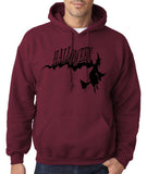 "Flying Halloween Mens Hoodies-Hoodies-Gildan-maroon -S To Fit Chest 36-38"" (91-96cm)-Daataadirect"