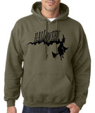 "Flying Halloween Mens Hoodies-Hoodies-Gildan-military green-S To Fit Chest 36-38"" (91-96cm)-Daataadirect"