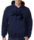 "Flying Halloween Mens Hoodies-Hoodies-Gildan-Navy blue -S To Fit Chest 36-38"" (91-96cm)-Daataadirect"