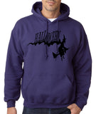 "Flying Halloween Mens Hoodies-Hoodies-Gildan-purple-S To Fit Chest 36-38"" (91-96cm)-Daataadirect"