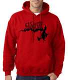 "Flying Halloween Mens Hoodies-Hoodies-Gildan-red-S To Fit Chest 36-38"" (91-96cm)-Daataadirect"