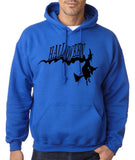 "Flying Halloween Mens Hoodies-Hoodies-Gildan-royal-S To Fit Chest 36-38"" (91-96cm)-Daataadirect"