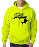 "Flying Halloween Mens Hoodies-Hoodies-Gildan-safety green-S To Fit Chest 36-38"" (91-96cm)-Daataadirect"