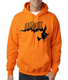 "Flying Halloween Mens Hoodies-Hoodies-Gildan-safety orange-S To Fit Chest 36-38"" (91-96cm)-Daataadirect"
