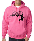 "Flying Halloween Mens Hoodies-Hoodies-Gildan-Safety pink-S To Fit Chest 36-38"" (91-96cm)-Daataadirect"