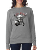 Free Rider Motor Bike Skull Women SweatShirts-Anvil-Daataadirect.co.uk