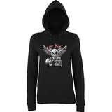 "Free Rider Motorbike Skull Women Hoodies-Hoodies-AWD-Black-XS UK 8 Euro 32 Bust 30""-Daataadirect"