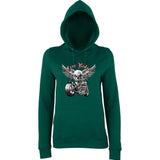 "Free Rider Motorbike Skull Women Hoodies-Hoodies-AWD-Bottle Green-XS UK 8 Euro 32 Bust 30""-Daataadirect"