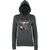 "Free Rider Motorbike Skull Women Hoodies-Hoodies-AWD-Charcoal-XS UK 8 Euro 32 Bust 30""-Daataadirect"