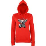 "Free Rider Motorbike Skull Women Hoodies-Hoodies-AWD-Fire Red-XS UK 8 Euro 32 Bust 30""-Daataadirect"