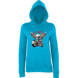 "Free Rider Motorbike Skull Women Hoodies-Hoodies-AWD-Hawaiian Blue-XS UK 8 Euro 32 Bust 30""-Daataadirect"