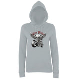 "Free Rider Motorbike Skull Women Hoodies-Hoodies-AWD-Heather Grey-XS UK 8 Euro 32 Bust 30""-Daataadirect"