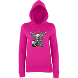"Free Rider Motorbike Skull Women Hoodies-Hoodies-AWD-Hot Pink-XS UK 8 Euro 32 Bust 30""-Daataadirect"
