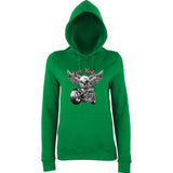 "Free Rider Motorbike Skull Women Hoodies-Hoodies-AWD-Kelly Green-XS UK 8 Euro 32 Bust 30""-Daataadirect"