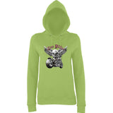 "Free Rider Motorbike Skull Women Hoodies-Hoodies-AWD-Lime Green-XS UK 8 Euro 32 Bust 30""-Daataadirect"