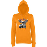 "Free Rider Motorbike Skull Women Hoodies-Hoodies-AWD-Orange Crush-XS UK 8 Euro 32 Bust 30""-Daataadirect"