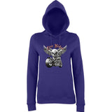 "Free Rider Motorbike Skull Women Hoodies-Hoodies-AWD-Purple-XS UK 8 Euro 32 Bust 30""-Daataadirect"
