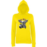 "Free Rider Motorbike Skull Women Hoodies-Hoodies-AWD-Sun Yellow-XS UK 8 Euro 32 Bust 30""-Daataadirect"
