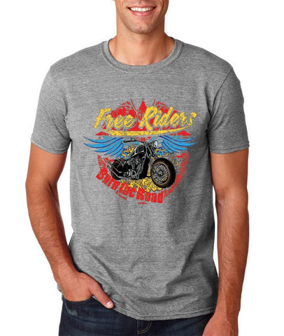 "Free Riders Burn The Road Men T Shirts-T Shirts-Gildan-Sport Grey-S To Fit Chest 36-38"" (91-96cm)-Daataadirect"