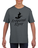 Frequent flyer Kids T Shirt Black-T Shirts-Gildan-charcoal-YXS (3-5 Year)-Daataadirect
