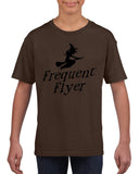 Frequent flyer Kids T Shirt Black-T Shirts-Gildan-Dk chocolate-YXS (3-5 Year)-Daataadirect