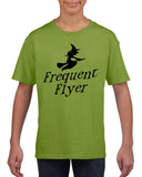 Frequent flyer Kids T Shirt Black-T Shirts-Gildan-kiwi-YXS (3-5 Year)-Daataadirect