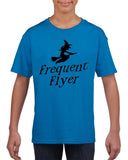 Frequent flyer Kids T Shirt Black-T Shirts-Gildan-sapphire-YXS (3-5 Year)-Daataadirect