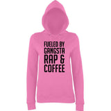 "Fueled by gangsta rap coffee Women Hoodies Black-Hoodies-AWD-Candyfloss Pink-XS UK 8 Euro 32 Bust 30""-Daataadirect"