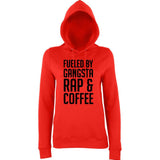 "Fueled by gangsta rap coffee Women Hoodies Black-Hoodies-AWD-Fire Red-XS UK 8 Euro 32 Bust 30""-Daataadirect"