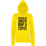 "Fueled by gangsta rap coffee Women Hoodies Black-Hoodies-AWD-Sun Yellow-XS UK 8 Euro 32 Bust 30""-Daataadirect"
