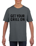 Get your grill on Black Kids T Shirt-T Shirts-Gildan-Charcoal-YXS (3-5 Year)-Daataadirect