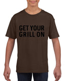 Get your grill on Black Kids T Shirt-T Shirts-Gildan-DK Chocolate-YXS (3-5 Year)-Daataadirect