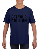 Get your grill on Black Kids T Shirt-T Shirts-Gildan-Navy Blue-YXS (3-5 Year)-Daataadirect