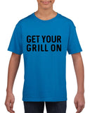 Get your grill on Black Kids T Shirt-T Shirts-Gildan-Sapphire-YXS (3-5 Year)-Daataadirect