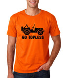 "Go Topless Off-Roading Shirt Men T Shirt Black-T Shirts-Gildan-Orange-S To Fit Chest 36-38"" (91-96cm)-Daataadirect"