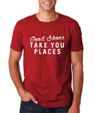 "Good shoes take you places Mens T Shirts White-T Shirts-Gildan-Antique Cherry-S To Fit Chest 36-38"" (91-96cm)-Daataadirect"