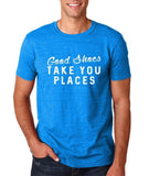 "Good shoes take you places Mens T Shirts White-T Shirts-Gildan-Antique Sapphire-S To Fit Chest 36-38"" (91-96cm)-Daataadirect"