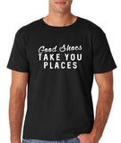 "Good shoes take you places Mens T Shirts White-T Shirts-Gildan-Black-S To Fit Chest 36-38"" (91-96cm)-Daataadirect"