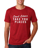 "Good shoes take you places Mens T Shirts White-T Shirts-Gildan-Cardinal-S To Fit Chest 36-38"" (91-96cm)-Daataadirect"