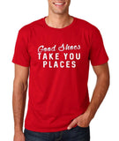 "Good shoes take you places Mens T Shirts White-T Shirts-Gildan-Cherry Red-S To Fit Chest 36-38"" (91-96cm)-Daataadirect"