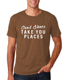 "Good shoes take you places Mens T Shirts White-T Shirts-Gildan-Chestnut-S To Fit Chest 36-38"" (91-96cm)-Daataadirect"