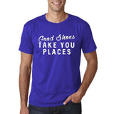 "Good shoes take you places Mens T Shirts White-T Shirts-Gildan-Cobalt-S To Fit Chest 36-38"" (91-96cm)-Daataadirect"